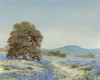 William A. Slaughter (American, 1923-2003) Bluebonnets and Blue Hills Oil on canvas 16 x 20 inche