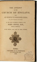 Books:Religion & Theology, John Jewel. The Apology of the Church of England, and an Epistle to Seignior Scipio, on the Council of Trent. London...