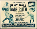 "Movie Posters:Sports, Play Ball with Babe Ruth (Universal, 1932). Title Lobby Card (11"" X 14"").. ..."