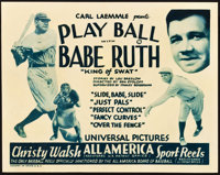 "Play Ball with Babe Ruth (Universal, 1932). Title Lobby Card (11"" X 14"")"