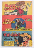 Premiums:Comic, Wisco/Klarer Comic Book (Miniature) Blaze Carson, Tex Taylor, and Kid Colt Rare Uncut Comic (Various, 1950) Condition: VF....