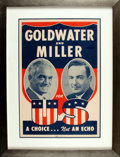 Books:Prints & Leaves, [Politics & Government]. Presidential Campaign Poster for Republican Party Goldwater and Miller. Los Angeles: Allied Printin...