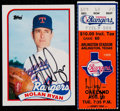 Autographs:Sports Cards, Signed 1989 Topps Traded Nolan Ryan #106T With Signed 5000 K Ticket Stub. ...