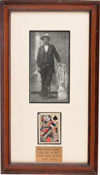 John Wesley Hardin: An Iconic Shot-through and Signed Playing Card, Signed and Dated July 4, 1895