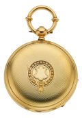 Timepieces:Pocket (pre 1900) , Jacot Freres Locle Rare Gold Double Barrel 10-Day Running PocketWatch, circa 1870. ...