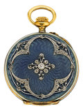 Timepieces:Pocket (post 1900), Swiss Gold, Enamel & Diamond Pendant Watch, circa 1910. ...