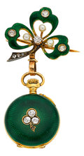 Timepieces:Pocket (post 1900), Swiss Miniature Gold, Enamel & Diamond Watch With Pin, circa 1910. ...