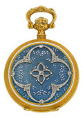 Timepieces:Pocket (post 1900), Swiss Very Fine Enamel & Gold Hunters Case, circa 1915. ...