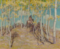 Ernest Martin Hennings (American, 1886-1956) Through the Aspen Oil on canvas 16 x 20 inches (40.6