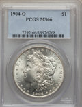 Morgan Dollars: , 1904-O $1 MS66 PCGS. PCGS Population (886/44). NGC Census: (1411/96). Mintage: 3,720,000. Numismedia Wsl. Price for problem...
