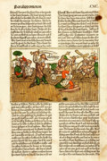 Books:Prints & Leaves, Single Leaf with Hand-Colored Illustration from German Text. [N.p., circa 1600]....