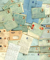 [World War II]. Large Archive of Correspondence Written By R.A.F. Flight Lieutenant Ken Stone to Family in London, Circa...