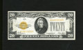 Small Size:Gold Certificates, Fr. 2402 $20 1928 Gold Certificate. Very Fine-Extremely Fine.. Three vertical and a light lateral fold are found on this $20...
