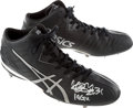 Baseball Collectibles:Others, 2014 Ichiro Suzuki Game Worn Signed Cleats with Ichiro Letter. ...
