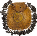 Western Expansion:Indian Artifacts, Geronimo: An Important Apache Hide Pouch Gifted by the FamousChief, Along with the Original Manuscript and Author's Notes for...