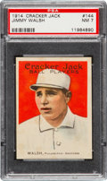 Baseball Cards:Singles (Pre-1930), 1914 Cracker Jack Jimmy Walsh #144 PSA NM 7 - Pop One, None Higher!...