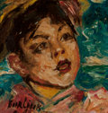 Fine Art - Painting, American:Modern  (1900 1949)  , David Burliuk (Ukrainian/American, 1882-1967). Portrait of aBoy. Oil on board. 4-1/2 x 4-1/2 inches (11.4 x 11.4 cm). S...