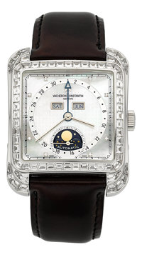 Vacheron Constantin Ref. 47651 Very Fine White Gold Diamond-Set Automatic Calendar Wristwatch With Moon Phases And Mothe...