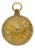 Timepieces:Pocket (pre 1900) , S.I. Tobias & Co. Liverpool 18k Gold Fusee, Multicolor GoldDial, circa 1860's. ...