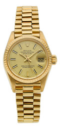 Timepieces:Wristwatch, Rolex Ref. 6917/8 Lady's Gold Oyster Perpetual Datejust, circa1980. ...