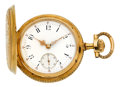 Timepieces:Pocket (pre 1900) , Felipe Hecht Exceptional Gold Hunters Case With Helical PalladiumHairspring, circa 1890. ...