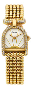 "Timepieces:Wristwatch, Cartier ""Calandre"" 18k Gold Lady's Diamond Bracelet Watch. ..."
