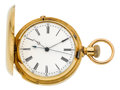 Timepieces:Pocket (pre 1900) , Swiss Rare Gold Two Train Tandem Wind Quarter Hour Repeater WithDead Beat Center Seconds, circa 1885. ...