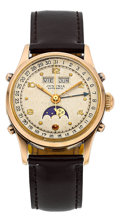 Timepieces:Wristwatch, Juvenia 18k Rose Gold Automatic Triple Calendar Moon Phase. ...