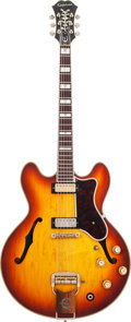 Musical Instruments:Electric Guitars, 1966 Epiphone Sheraton Sunburst Semi-Hollow Body Electric Guitar, Serial # 806209....
