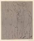 Fine Art - Work on Paper:Print, Pablo Picasso (Spanish, 1881-1973). Picador debout avec soncheval et une femme, 1959. Linocut in colors on Arches paper...