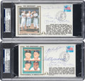 Baseball Collectibles:Others, 1989 Mickey Mantle, Willie Mays, Duke Snider, Ted Williams & Others Signed First Day Covers Lot of 2....