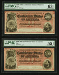 Confederate Notes:1864 Issues, T64 $500 1864 PF-3 Cr. 489B Two Examples.. ... (Total: 2 notes)