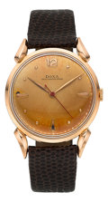 Timepieces:Wristwatch, Doxa 14k Rose Gold Fancy Lug Wristwatch. ...