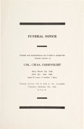 Miscellaneous:Ephemera, Charles Goodnight: A Rare Funeral Notice for the Legendary Texas Rancher....