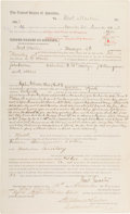 Autographs:Celebrities, Oklahoma Territory: 1883 Document Signed by U.S. Marshal ThomasBoles Regarding the Killing of a Suspect who Resisted Arrest....