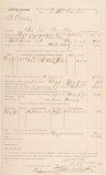 """Autographs:Celebrities, William """"Bill"""" Ellis: Document Signed by the Deputy U.S. MarshalWho Helped Corner and Kill Notorious Cherokee Indian Outlaw N..."""