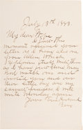 Autographs:Celebrities, Frank James: A Scarce Handwritten 1883 Letter by the FamousOutlaw....
