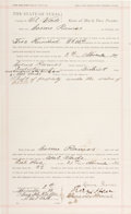 Autographs:Celebrities, Judge Roy Bean: 1892 Texas Legal Document Signed by the ColorfulJudge....