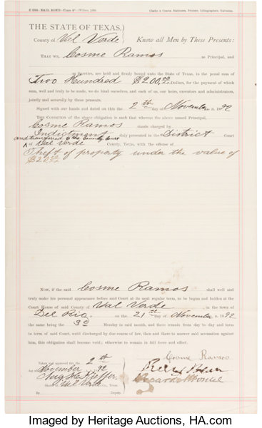 Judge Roy Bean Texas Legal Document Signed By The Lot - Texas legal documents