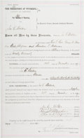 Autographs:Celebrities, Johnson County War: An 1889 Surety Bond for Ira E. Walker on theCharge of Murder....