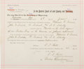 "Autographs:Celebrities, Johnson County War: A Highly Important Arrest Warrant, issued bySheriff William G. ""Red"" Angus, Charging Cattle Barons with t..."
