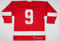 Autographs:Bats, Gordie Howe Signed Detroit Red Wings Jersey....