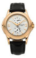 Timepieces:Wristwatch, Patek Philippe Ref. 5134R Calatrava Rose Gold Travel Time Wristwatch. ...