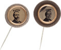 Political:Ferrotypes / Photo Badges (pre-1896), Rutherford B. Hayes and Samuel J. Tilden: Ferrotype Stickpins....(Total: 2 Items)