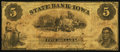 Obsoletes By State:Iowa, Council Bluffs, IA- State Bank of Iowa, Branch at Council BluffsCounterfeit $5 May 1, 1860. ...