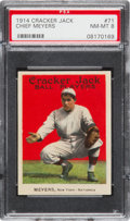 Baseball Cards:Singles (Pre-1930), 1914 Cracker Jack Chief Meyers #71 PSA NM-MT 8 - Pop One, TheHighest Graded Example! ...
