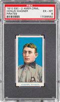 Baseball Cards:Singles (Pre-1930), 1910 E90-2 American Caramel Honus Wagner PSA EX-MT 6 - Pop One,None Higher! ...