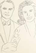 Fine Art - Work on Paper:Drawing, Andy Warhol (American, 1928-1987). Mr. & Mrs. Dean,circa 1974. Pencil on paper. 41 x 28-1/8 inches (104.1 x 71.4 cm).N...