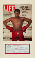 Boxing Collectibles:Autographs, 1974 Muhammad Ali Signed Check Display. ...