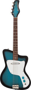 Musical Instruments:Bass Guitars, 1967 Danelectro Hawk BlueBurst Electric Bass Guitar....